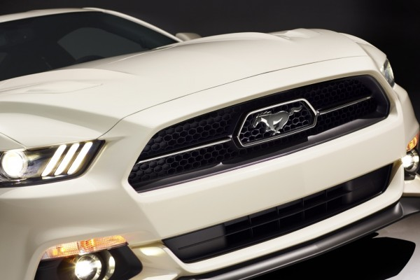 Unique chrome-trimmed grille of 2015 Ford Mustang 50 Year Limited Edition in Wimbledon White with pony corral.