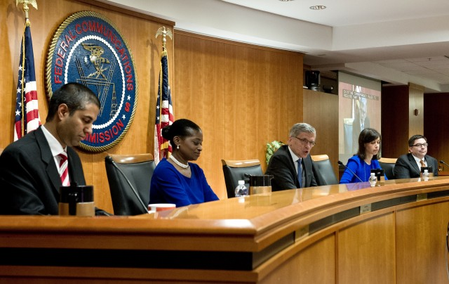 From left, FCC Commissioners Ajit Paj, Mignon Clyburn, Chairman Tom Wheeler, Jessica Rosenworcel and Michael O'Reilly. (Karen Bleier/AFP/Getty Images)
